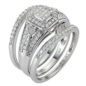 9ct White Gold Half Carat Diamond Bridal Ring Set - Product number 8471568