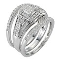 9ct White Gold Half Carat Diamond Bridal Ring Set - Product number 8471568