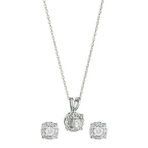 9ct White Gold 0.40 Carat Diamond Pendant and Earrings Set - Product number 8471827