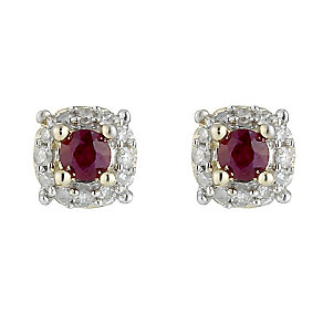 9ct Gold Ruby and Diamond Stud Earrings - Product number 8471843