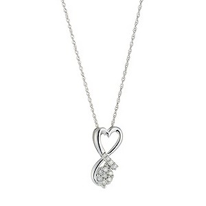 9ct White Gold Diamond Set Heart Shaped Pendant - Product number 8471924