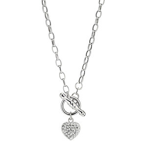 9ct White Gold Crystal Heart Chain Pendant - Product number 8472297