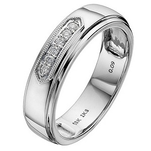 Perfect Fit 18ct White Gold Pave Set Diamond Wedding Ring