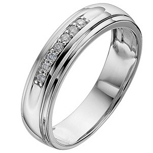 Men's 9ct White Gold Diamond Wedding Ring - Product number 8473129