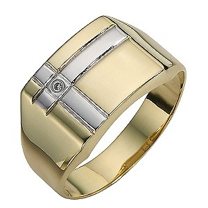 9ct Gold Two Colour Diamond Set Square Ring