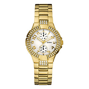 Guess Ladies' Gold Plated White Dial Bracelet Watch - Product number 8476446