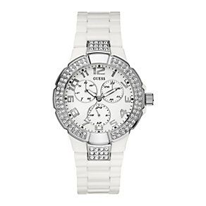 Guess Ladies' Multi Dial Stone Set White Bracelet Watch - Product number 8476454