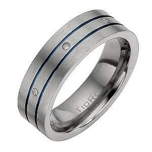 Titanium Diamond Set Blue Line Ring