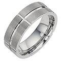 Tungsten Matt and Polished Groove Ring - Product number 8477256