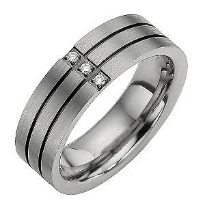 Titanium Three Diamond Set Two Black Line Ring