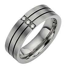 Titanium Three Diamond Two Black Line Ring - Product number 8477647
