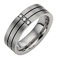 Titanium Three Diamond Set Two Black Line Ring - Product number 8477647