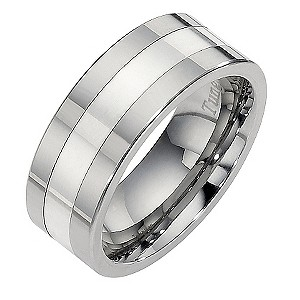 Tungsten and Silver Centre Line Ring