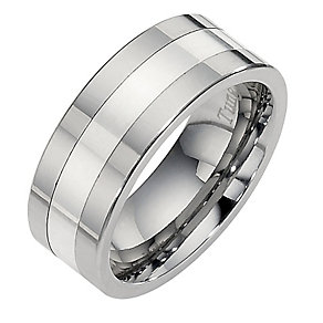 Tungsten and Silver Centre Line Ring - Product number 8477930