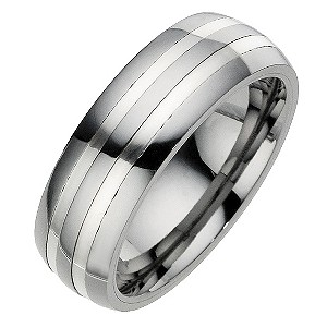 Tungsten Two Silver Line Ring
