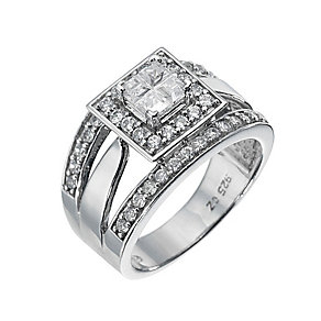 Silver Plated Cubic Zirconia Ring. Size L - Product number 8478872