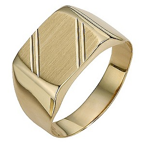 9ct Gold Square Matt and Polished Groove Ring