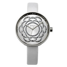 Oasis Ladies' Flower Stone Set Dial White Strap Watch - Product number 8481474