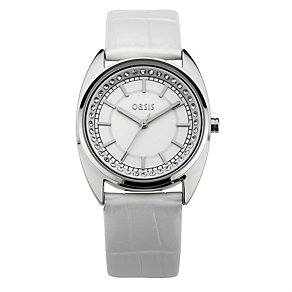 Oasis Ladies' White Stone Set Dial Leather Strap Watch - Product number 8481504