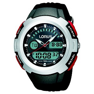 Lorus Mens Digital Black Strap Watch