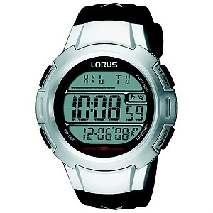 Lorus Mens Digital World Timer Strap Watch