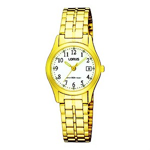 Lorus Ladies White Dial Gold Plated Bracelet Watch
