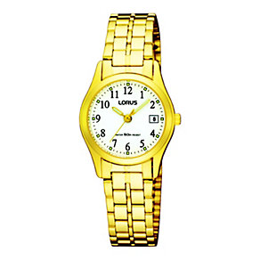 Lorus Ladies White Dial Gold Plated Bracelet Watch - Product number 8481644