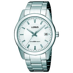 Lorus Mens White Dial Stainless Steel Bracelet Watch