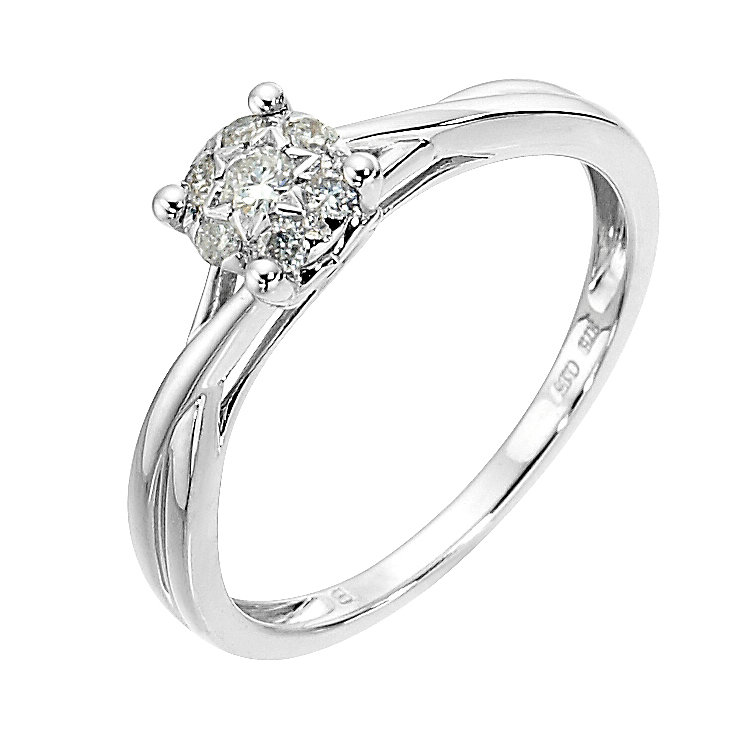 9ct white gold 15 point diamond cluster crossover ring - Product number 8482179