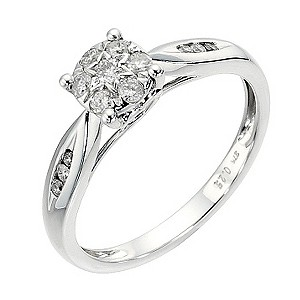 9ct white gold 1/4 carat diamond cluster ring - Product number 8482446