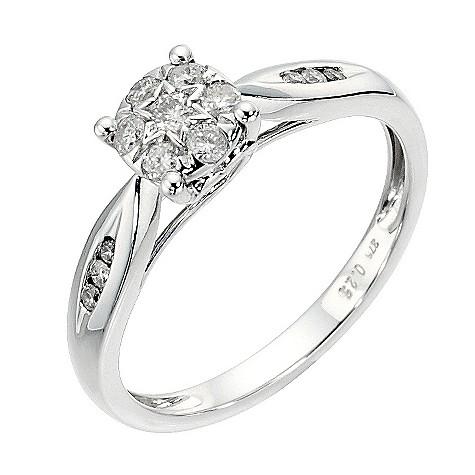 9ct white gold 1/4 carat diamond cluster ring