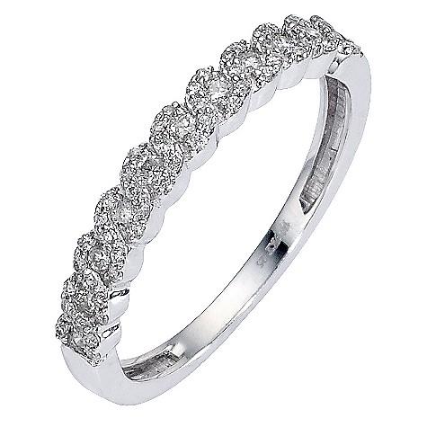 9ct white gold quarter carat diamond set plaited ring