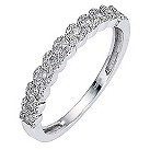 9ct white gold quarter carat diamond set plaited ring - Product number 8483949