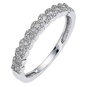 9ct white gold quarter carat diamond set plaited ring - Product number 8483949