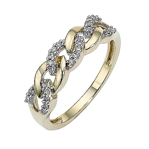 9ct gold diamond set link ring