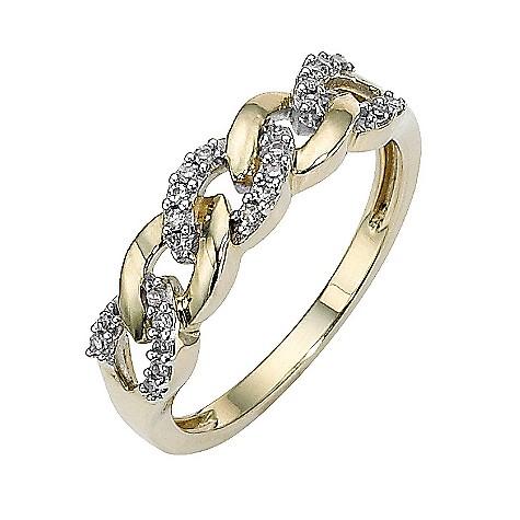 9ct gold diamond set link ring