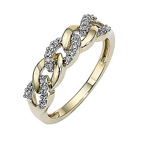 9ct gold diamond set link ring - Product number 8484236