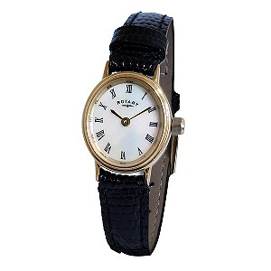 Rotary Ladies' Gold Plated Black Leather Strap Watch - Product number 8484368