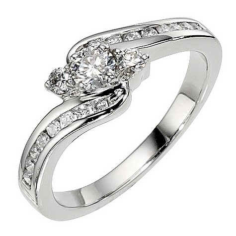 Platinum 1/2 carat 3 stone diamond twist ring