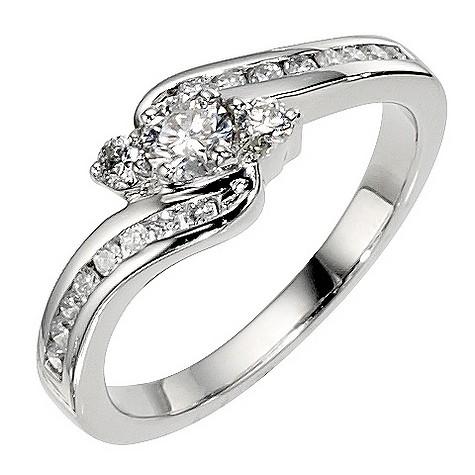 Platinum 1/2 carat 3 stone diamond twist ring