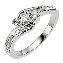 Platinum 0.50ct 3 stone diamond twist ring - Product number 8484740