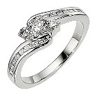 Platinum 1/2 carat 3 stone diamond twist ring - Product number 8484740