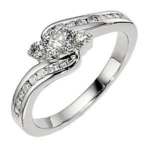 Platinum 0.50ct 3 stone diamond twist ring - Product number 8484740