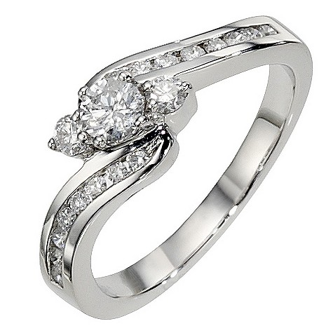 Platinum 3/4 carat 3 stone diamond twist ring