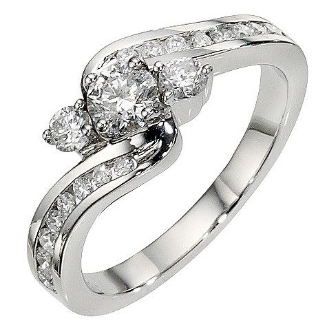 Platinum 1 carat 3 stone twist diamond ring