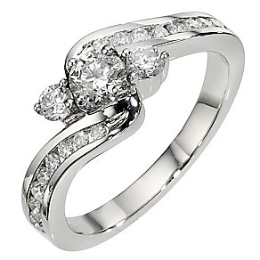 Platinum 1 carat 3 stone twist diamond ring - Product number 8485046