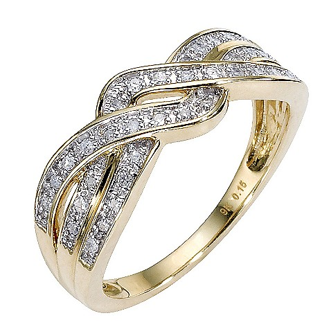 9ct gold diamond set crossover ring
