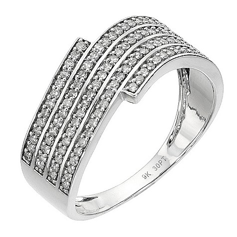 9ct white gold 1/3 carat diamond wave ring