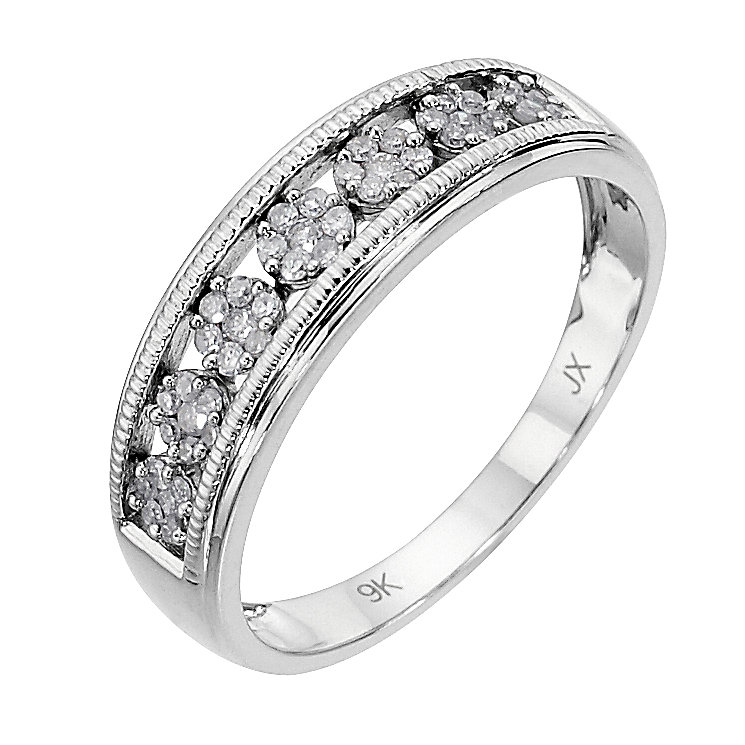 9ct white gold 0.20ct diamond vintage ring - Product number 8485593