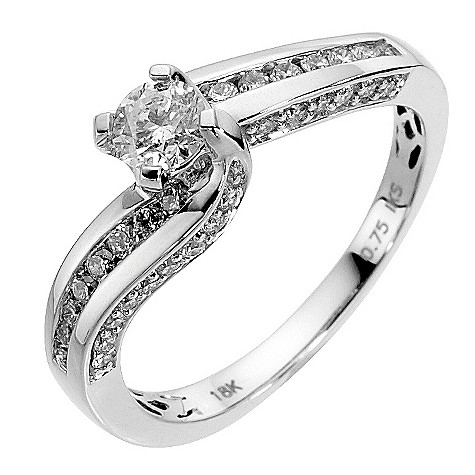 18ct white gold 3/4 carat diamond solitaire ring